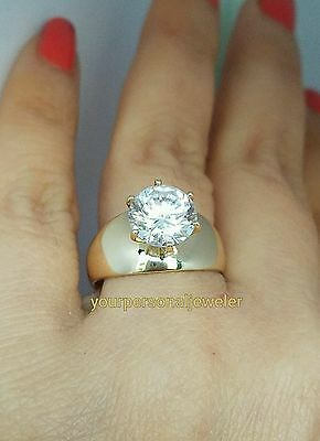 wide 3 carat 14k Yellow Gold Solitaire round man made Diamond Engagement Ring S7