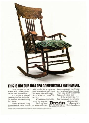 1990 Dreyfus Comfortable Retirement Finance Rocker Vintage Print Advertisement