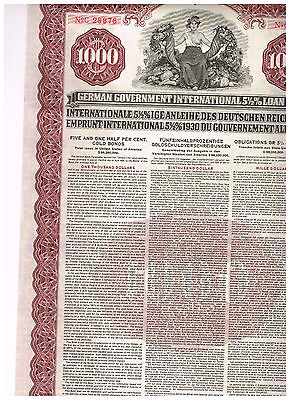 German Government International Loan (Young-Loan), 1930, 1000$ Gold-cancelled !