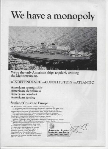 1965 Sunlane Cruises SS Independence Constitution Atlantic Original Print Ad