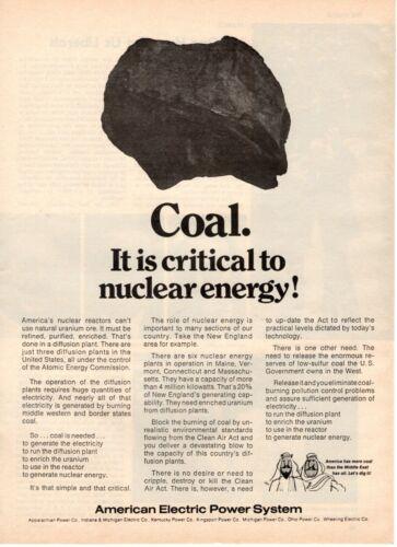1974 ORIGINAL VINTAGE AMERICAN ELECTRIC POWER SYSTEM MAGAZINE AD ADVOCATING COAL
