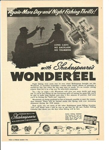 Vintage Original 1946 SHAKESPEARE WONDEREEL Fishing Reels POST-WAR Ad