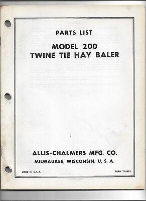 Original Oem Allis Chalmers Model 200 Twine Tie Baler Parts List Catalog Tpl-482