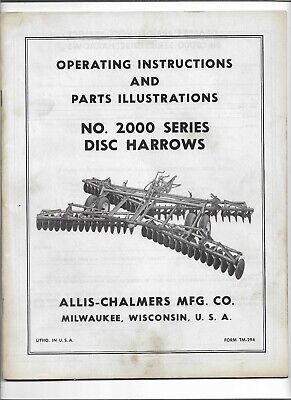 Original Allis Chalmers 2000 Disc Harrows Operators Parts Illustrations Manual