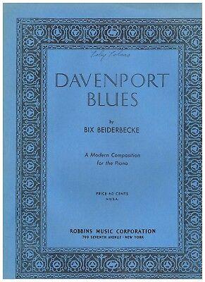 "'37 BIX BEIDERBECKE ""Davenport Blues"" WILLIAM H. CHALLIS ADVANCED PIANO SOLO 3pp"