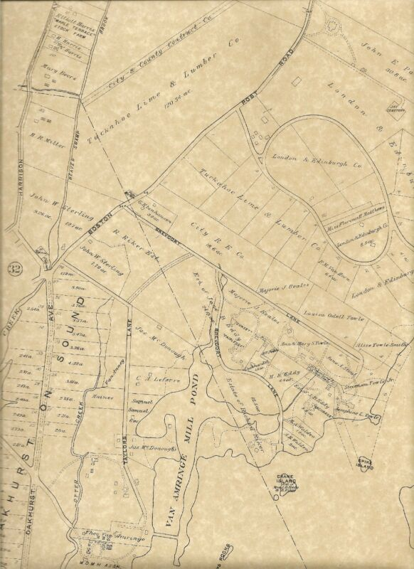 Rye Green Haven Milton Oakland Beach  NY 1910 Maps with Landowners Names Shown