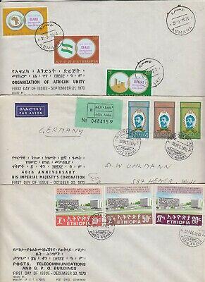 ETHIOPIA 1970 *AFRICAN UNITY, 40th ANNIVERSARY of CORONATION, GPO BUILDINGS FDCs