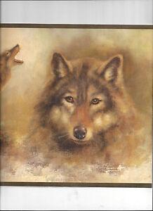 WALLPAPER BORDER WOLVES WOLF NATURE WILD ANIMAL HUNTING WILDERNESS GREEN TRIM