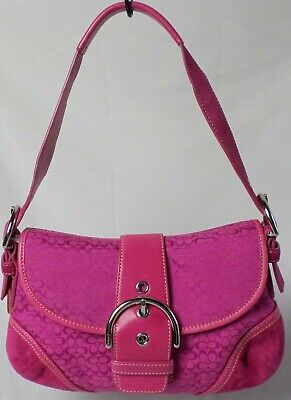 Coach 6818 Hot Pink Fuchsia Canvas &Suede Signature Buckle Hobo Tote ShoulderBag