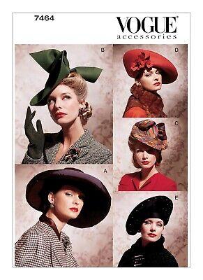Vogue Schnittmuster Vintage  V7464,  1930er + 1940er,  5 Hüte Vintage Vogue