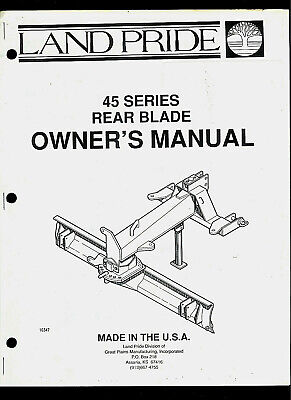 Land Pride 45 Series Rear Blade Illustrated Parts List Owners Manual