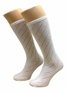 GIRLS-SOCKS-6-PAIR-PACK-PELERINE-design-KNEE-HIGH-in-WHITE-UK-MADE
