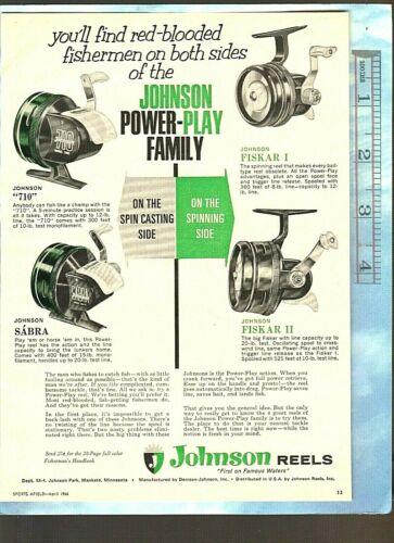 Vintage Original 1966 JOHNSON Model 710 & SABRA + FISKAR I & II Fishing Reels Ad