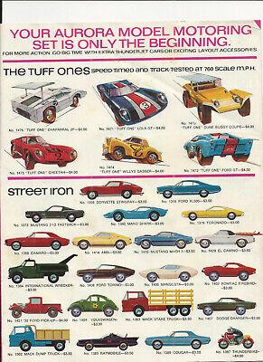 RARE 1970 AURORA SLOT CAR MODELS AND ACCESSORY PRICE BROCHURE