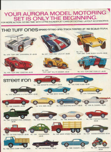 RARE 1970 AURORA SLOT CAR MODELS AND ACCESSORY PRICE BROCHURE