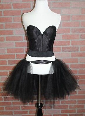 Ballerina Adult Costume (Womens Black Swan Costume Adult Ballerina Halloween Corset + Tutu Size)
