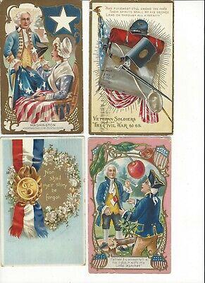 LOT of 8 ANTIQUE EARLY 1900s Postcards      *  U. S. A. PATRIOTIC *    (0729c)
