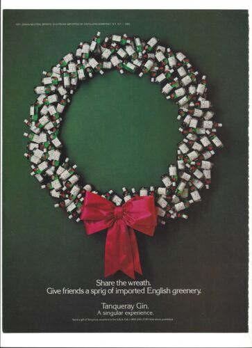 "Tanqueray Gin Christmas Wreath 1985 Original Print Ad 9 x 11"" Playboy Magazine"