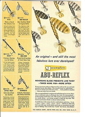 Vintage Original 1960 GARCIA ABU-REFLEX Fishing Lures HI-FI EELET MAC-DAN TILLY