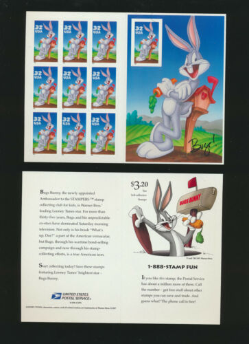 Bugs Bunny 1997 Looney Tunes Pane of Ten Stamps  #3137 $13.25 Retail Value