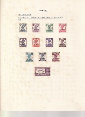 KUWAIT GEORGE 6TH  ALBUM PAGE 1938 SET USED INDIA OPTS TO14A