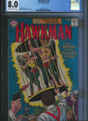 Hawkman # 3 CGC 8.0  Cream to Off White Pages. UnRestored.