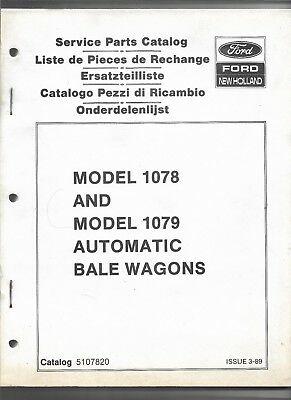 Original Ford New Holland 1078 1079 Automatic Bale Wagons Service Parts Catalog