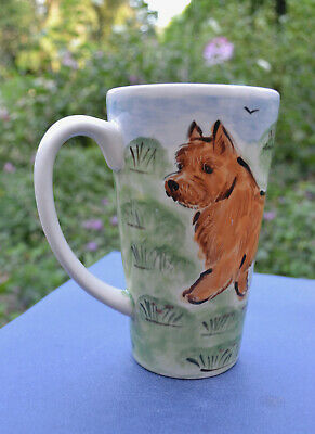 Norwich terrier . Handpainted ceramic mug  . OOAK .LOOK!