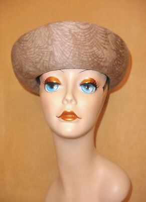 Fawn Beige Wool Felt Hat w/ Brown Frond Pattern, Mushroom Stem Accent by Cathay