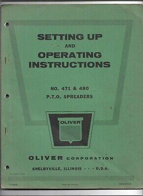 Original Oliver 471 480 Pto Spreader Parts Catalog Form S5-4-w35-2 Dated 121963