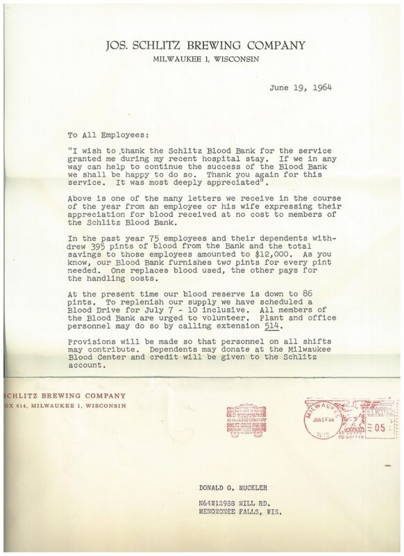 1964 Schlitz Beer Letter on Official Letterhead with Envelope