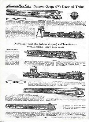 1936 PAPER AD 2 Sided  - Moore & Evans - American Flyer Trains & Gendrons Play
