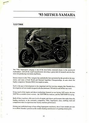 Yamaha YZF750R Press Release Printed Sheets 1993 7582E