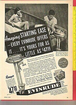 Vintage Original 1938 EVINRUDE RANGER & SPORTSMAN Outboard Fishing Motors Ad