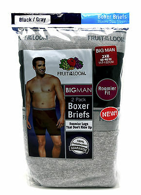 2 Big Man 2XB 46-48 Inch Boxer Briefs Fruit Of The Loom 2EG