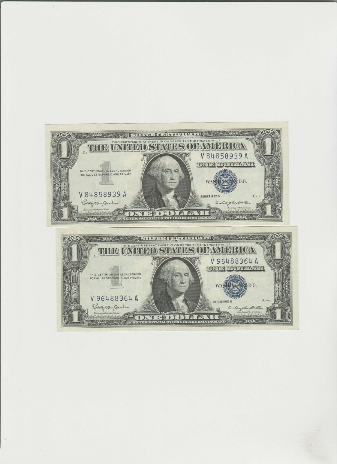 2 1957-B Silver Certificates - $7.99