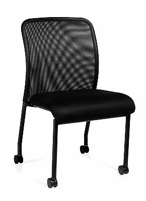 Black Otg11761b Armless Mesh Back Guest Chair With Casters