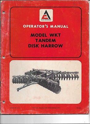 Original Oem Allis Chalmers Model Wkt Tandem Disk Disc Harrow Operators Manual