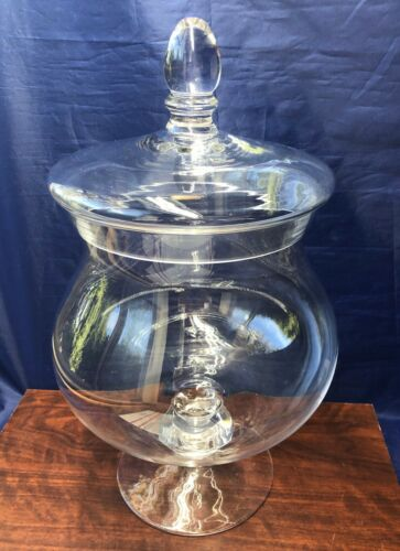 Large Vintage Victorian Style Glass Lidded Candy Apothecary Soda Fountain Jar