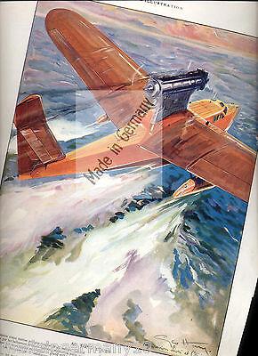 Flugboot & Doret s Sturzflug 2 historische Flugzeug Aquarelle ~ 1930 von Geo Ham