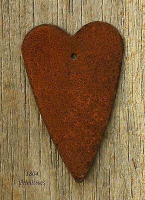 "6 - Primitive 2 3/4"" Rusty Tin Hearts with HANG Hole -:¦:- Crafts on Rummage"