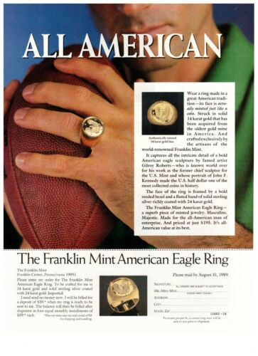 1990 Franklin Mint American Eagle Gold Ring Vintage Print Advertisement