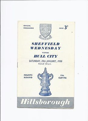 Sheffield Wednesday v Hull City 25 January 1958 FA Cup 4th Round