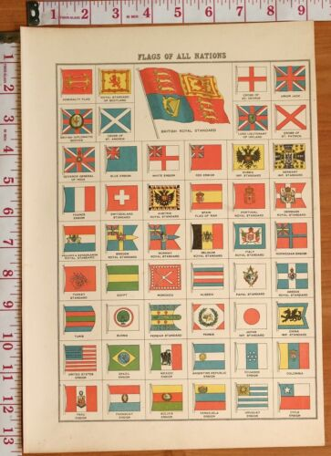 1898 ANTIQUE PRINT FLAGS OF ALL NATIONS NORWAY EGYPT BLUE ENSIGN JAPAN MEXICO