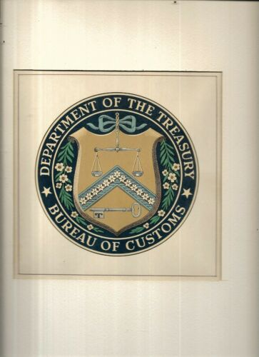 Large United States Department of The Treasury Bureau of Customs Seal