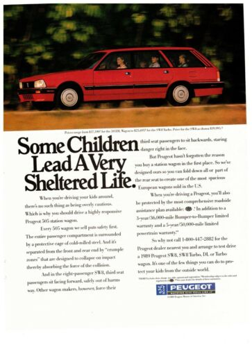 1990 Peugeot SW8 Turbo Red Station Wagon Import Vintage Print Advertisement