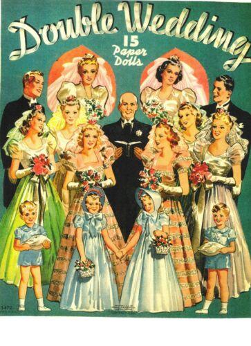 VINTAGE UNCUT 1939 DOUBLE WEDDING PAPER DOLLS~#1 REPRODUCTION~VERY RARE/SCARCE!
