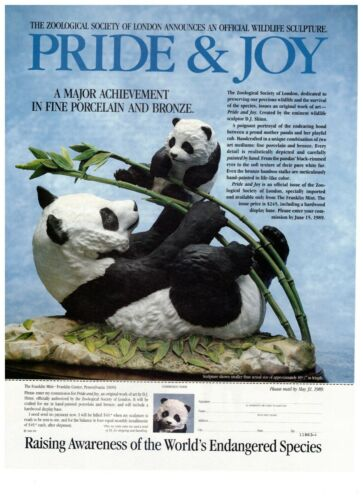 1990 Franklin Mint Pride and Joy Panda Porcelain Vintage Print Advertisement