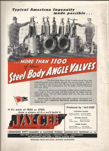 Magazine Ad-JAY CEE Steel Angle Valves,Johnson City,TN.Foundry 1947=melaneybuy