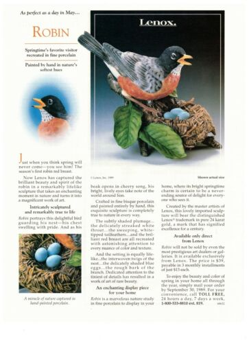 1990 Lenox Robin Egg Bird Porcelain Sculpture Vintage Print Advertisement